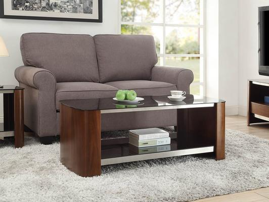 Melbourne Coffee Table Walnut Black Glass Top JF311 image 2