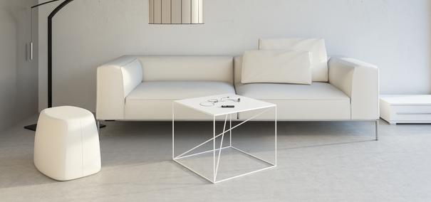 Small X Steel Side Table - White