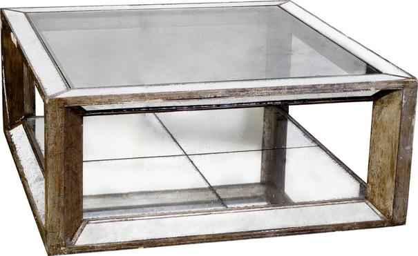 Distressed Wood Coffee Table Antique Mirror Top