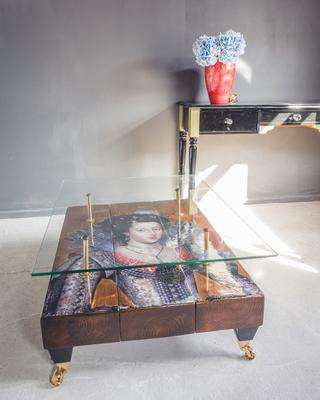 Queen Boho Coffee Table with Glass Top image 3