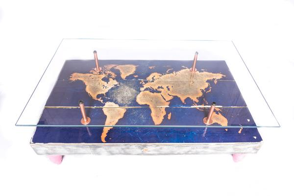 Modern World Map Coffee Table with Glass Top