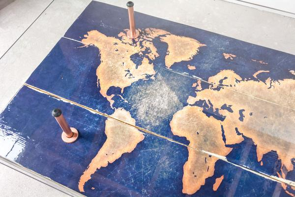 Modern World Map Coffee Table with Glass Top image 2