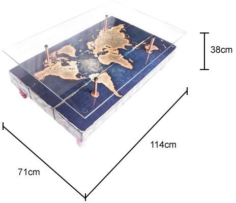 Modern World Map Coffee Table with Glass Top image 5
