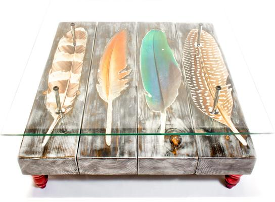 Grey Bird Feather Coffee Table with Glass Top