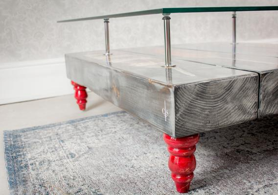 Grey Bird Feather Coffee Table with Glass Top image 3