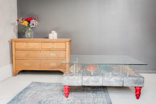 Grey Bird Feather Coffee Table with Glass Top image 4