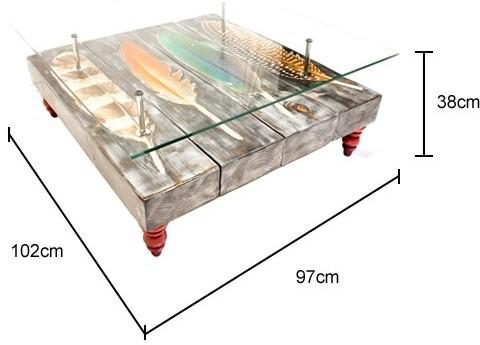 Grey Bird Feather Coffee Table with Glass Top image 5