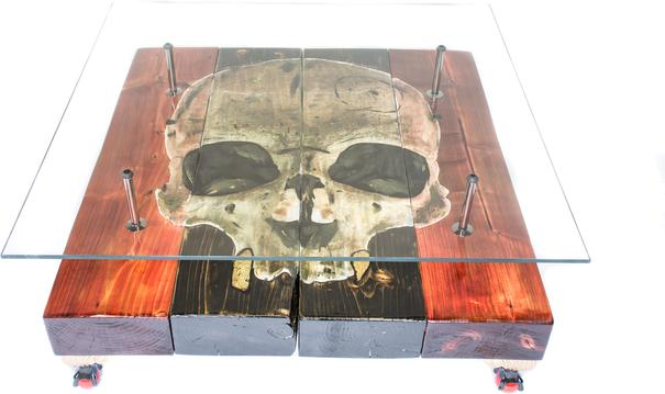 Gothic Skull Coffee Table with Glass Top