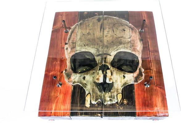 Gothic Skull Coffee Table with Glass Top image 3