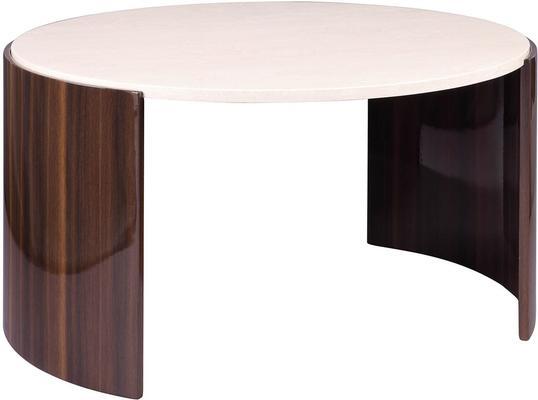 Milan Round Coffee Table High Gloss Walnut and Cream JF902