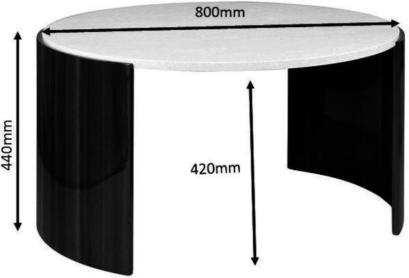 Milan Round Coffee Table High Gloss Walnut and Cream JF902 image 4