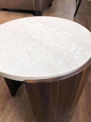 Milan Round Coffee Table High Gloss Walnut and Cream JF902 image 5