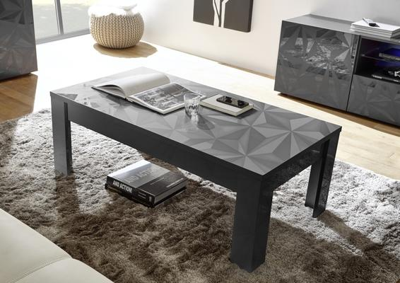 Brescia Coffee Table - Gloss Anthracite Finish with Grey Stencil Print