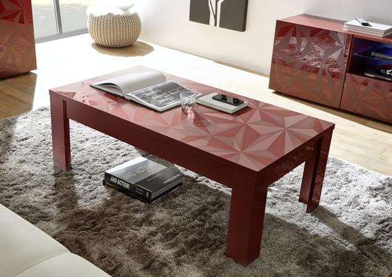 Brescia Coffee Table - Gloss Red Finish with Grey Stencil Print