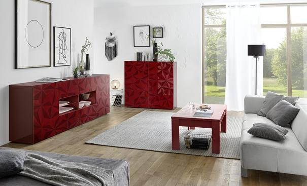 Brescia Coffee Table - Gloss Red Finish with Grey Stencil Print image 2