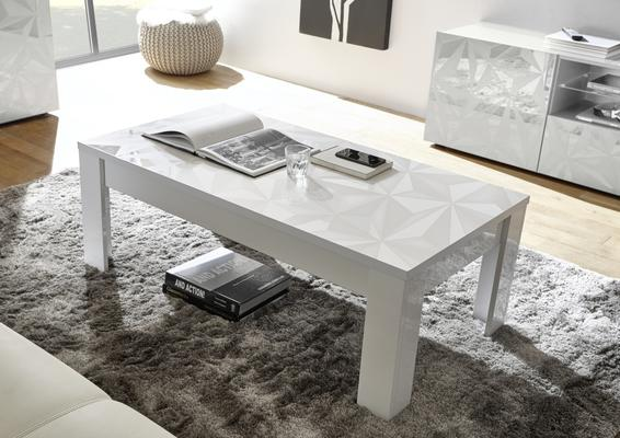 Brescia Coffee Table - Gloss White Finish with Grey Stencil Print