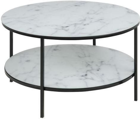 Alismar round coffee table with shelf