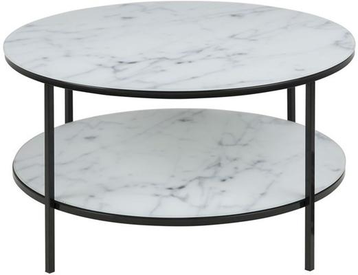Alismar round coffee table with shelf image 2