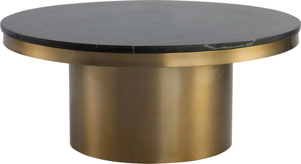Camden Round Coffee Table Brass Frame Marble Top