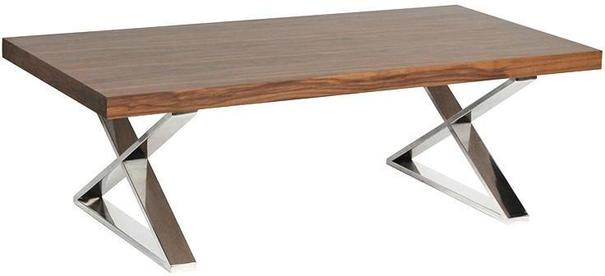 Morcott Walnut and Polished Steel X Frame Coffee Table