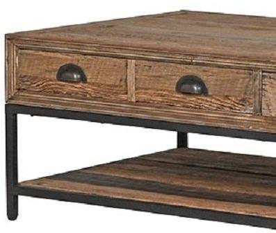 Greenwich Reclaimed Wood Two Drawer Coffee Table image 2