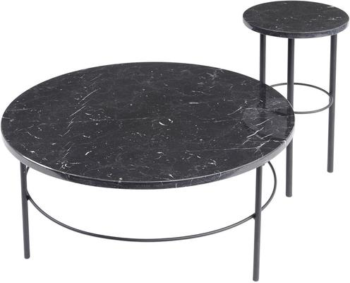 Chancery Marquina Round Black Marble Coffee Table image 2