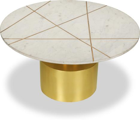 Havanna Coffee Table White Marble Top Brass Frame