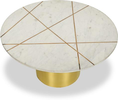 Havanna Coffee Table White Marble Top Brass Frame image 2