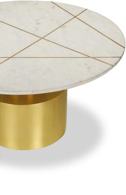 Havanna Coffee Table White Marble Top Brass Frame image 3