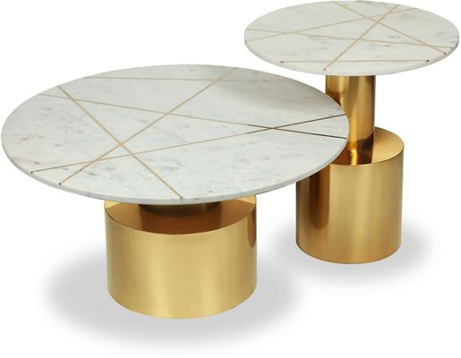 Havanna Coffee Table White Marble Top Brass Frame image 4