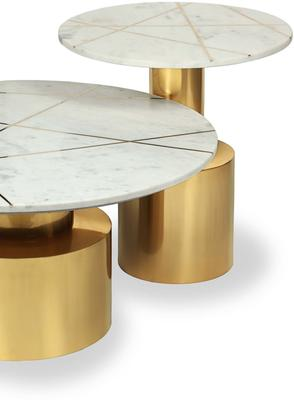 Havanna Coffee Table White Marble Top Brass Frame image 5