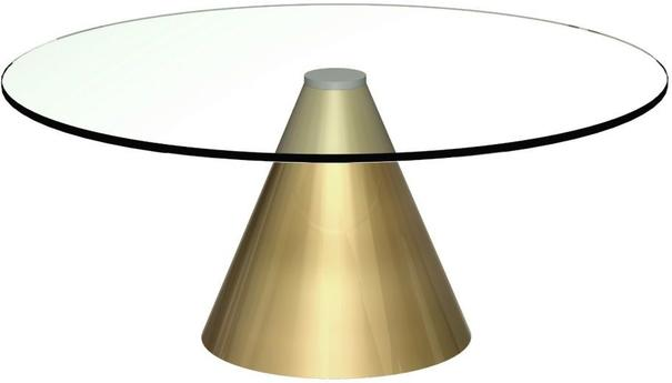 Oscar Small Circular Coffee Table Glass or Marble with Cone Base