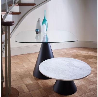 Oscar Small Circular Coffee Table Glass or Marble with Cone Base image 8
