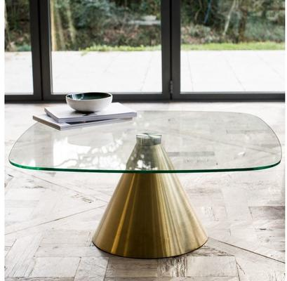Oscar Small Square Coffee Table Glass or Marble with Cone Base image 9