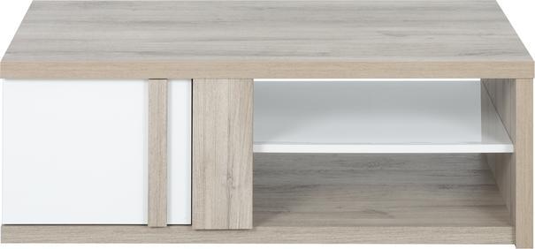 Aston Rectangular Storage Coffee Table - White and Light Oak or Black