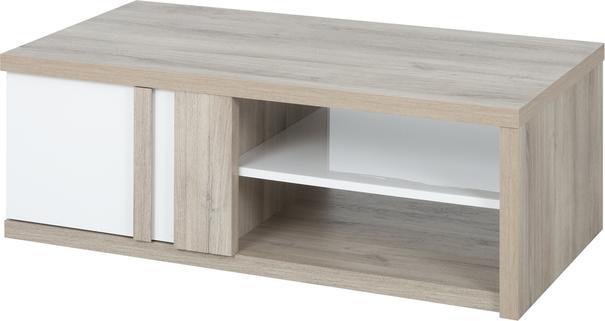 Aston Rectangular Storage Coffee Table - White and Light Oak or Black image 3