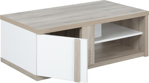 Aston Rectangular Storage Coffee Table - White and Light Oak or Black image 7