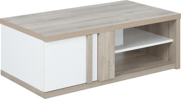 Aston Rectangular Storage Coffee Table - White and Light Oak or Black image 9