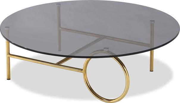 Memoire Coffee Table Smoked Glass Top and Brass Frame Round or Oval