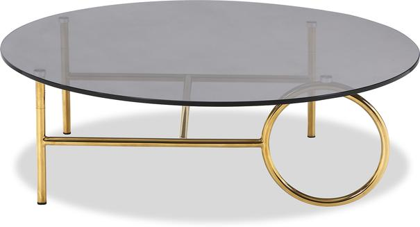 Memoire Coffee Table Smoked Glass Top and Brass Frame Round or Oval  image 2