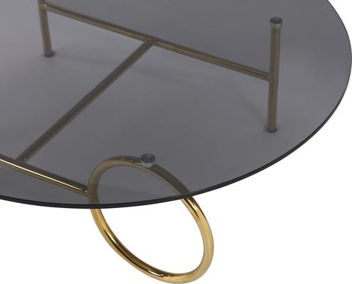 Memoire Coffee Table Smoked Glass Top and Brass Frame Round or Oval  image 3
