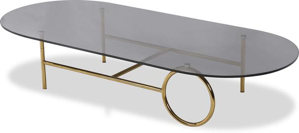 Memoire Coffee Table Smoked Glass Top and Brass Frame Round or Oval  image 4