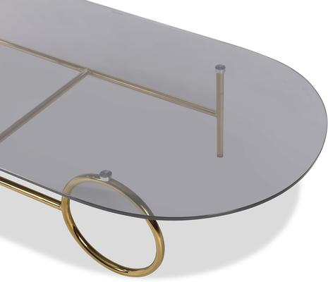 Memoire Coffee Table Smoked Glass Top and Brass Frame Round or Oval  image 6