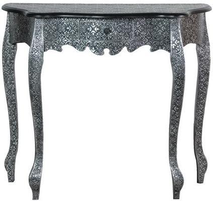Small Black And Silver Console Table Ethnic Design