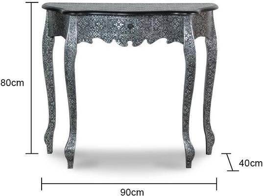 Small Black And Silver Console Table Ethnic Design image 2