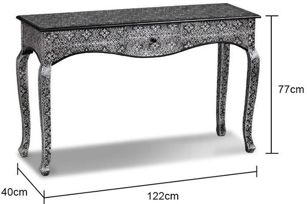 Large Dark Metal Console Table Embossed Ethnic Design image 2