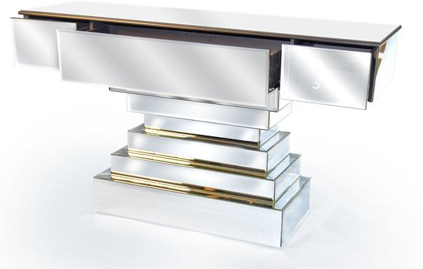 Large Three Drawer Mirrored Console Table Art Deco image 3