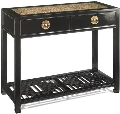 Carved Console Table, Black Lacquer