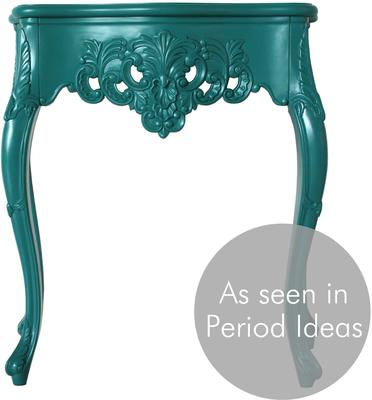 Small French Console Table Curved in Teal