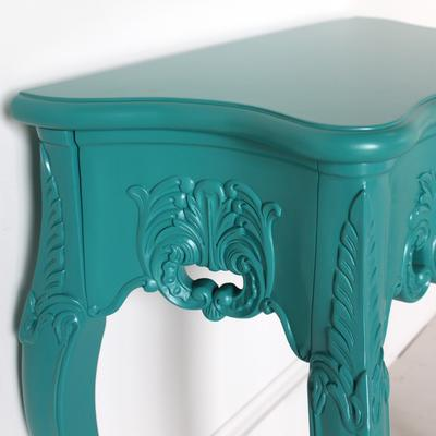 Small French Console Table Curved in Teal image 3
